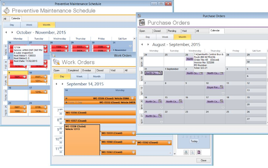 fleetsoft calendar views scheduling